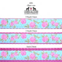 DOG LEAD - SHABBY CHIC ROSES ON TURQUOISE